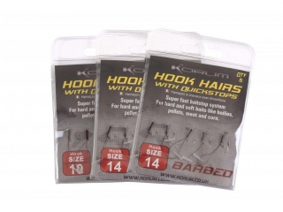 Korum Hook Hairs with Quickstops Barbed vel.8 s protihrotem